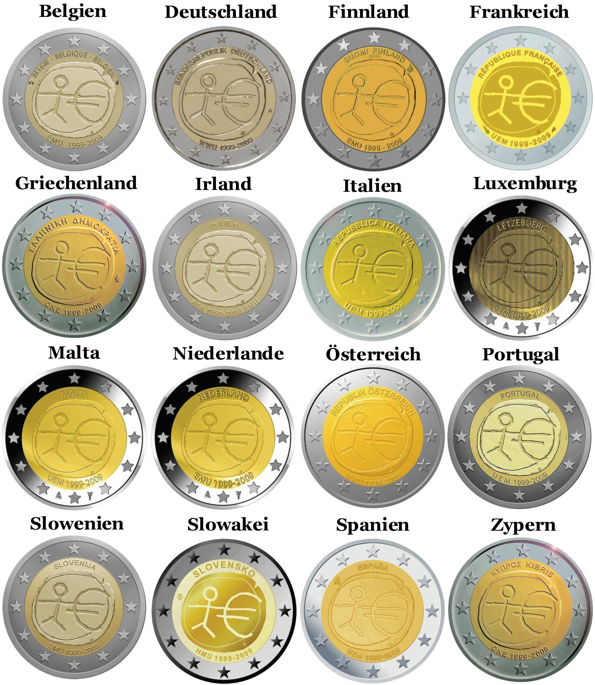 2 Euro Münze 10 Jahre Euro Auflagen Bilder