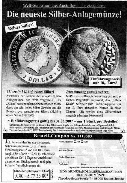 Angebot Koala Silbermünze Australien