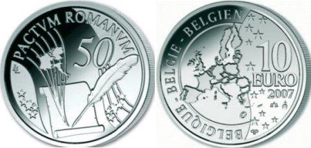 10 Euro Silbermünze Römische Verträge aus Belgien