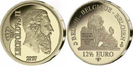 Belgische Goldmünze zu Ehren von Leopold II.