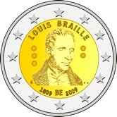 2 Euro Münze Louis Braille aus Belgien