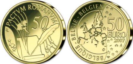 belgische 50 Euro Goldmünze Römische Verträge