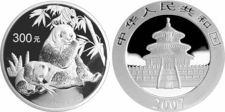 chinesische Panda-Münze aus Silber 2007