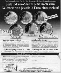 Angebot der dt. 2 Euro Gedenkmünzen