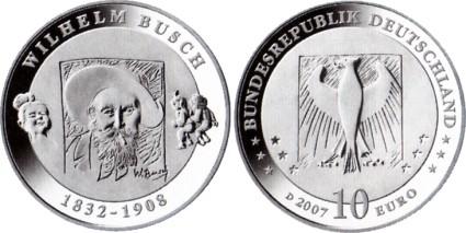 10 Euro Münze Wilhelm Busch 2007