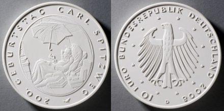 Entwurf für 10 Euro Münze Carl Spitzweg