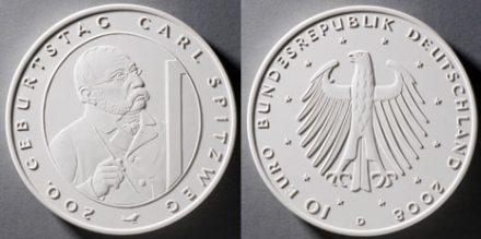 4. Platz 10 Euro Gedenkmünze Spitzweg