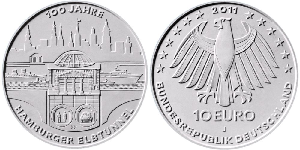 Entwürfe 10 Euro Münze Elbtunnel 2011