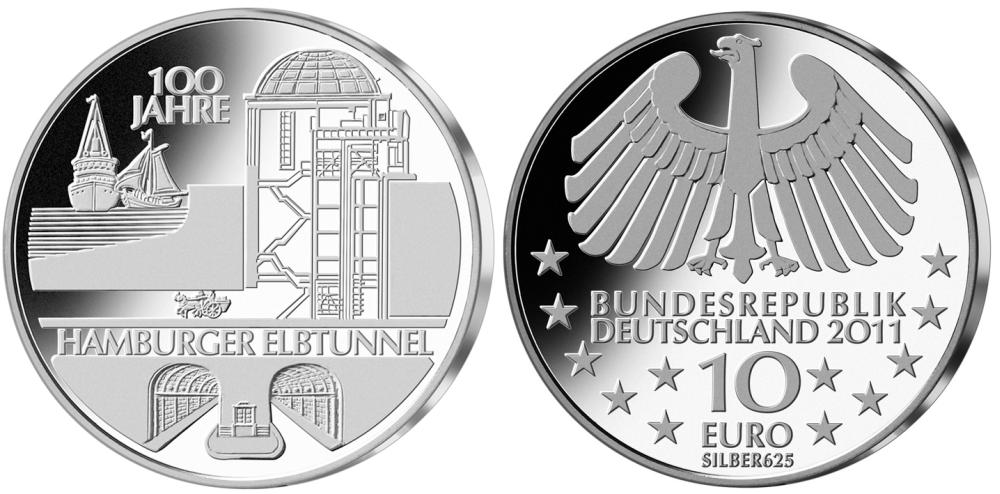 10 Euro Münze Hamburger Elbtunnel 2011