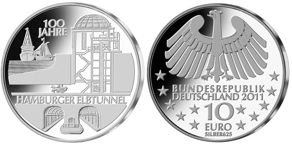 10 Euro Münze Hamburger Elbtunnel 2011