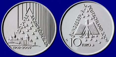 Siegerentwurf: 10 Euro Gedenkmünze Jugendherbergen
