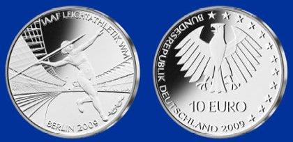 10 Euro Münze Leichtathletik WM - Platz 1