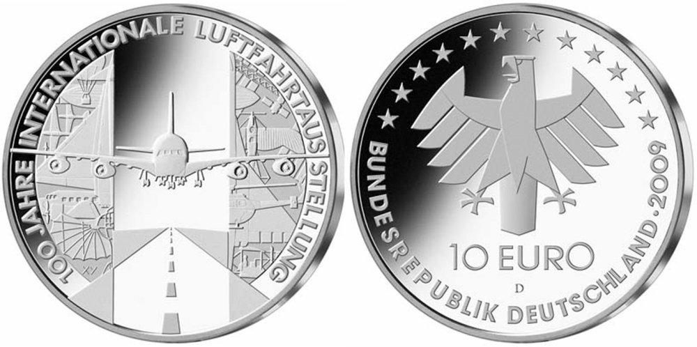 10 Euro Münze 100 Jahre Internationale Luftfahrtausstellung