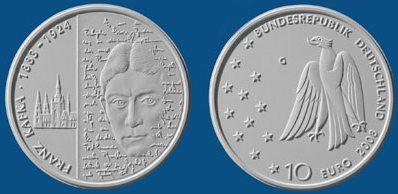 Entwurf der 10 Euro Münze Franz Kafka