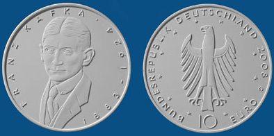 2. Platz 10 Euro Gedenkmünze Kafka