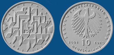 3. Platz 10 Euro Münze Kafka 2008