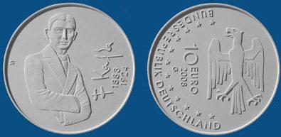 4. Platz 10 Euro Münze Franz Kafka