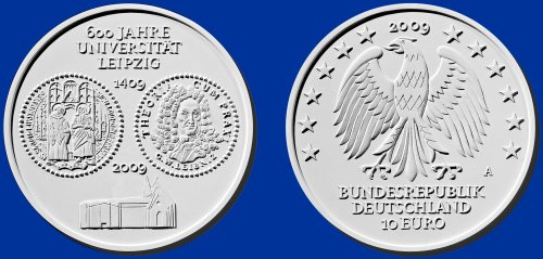 Siegerentwurf 10 Euro Münze Uni Leipzig