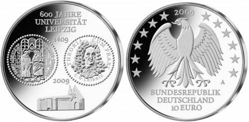 10 Euro Münze Uni Leipzig 2009