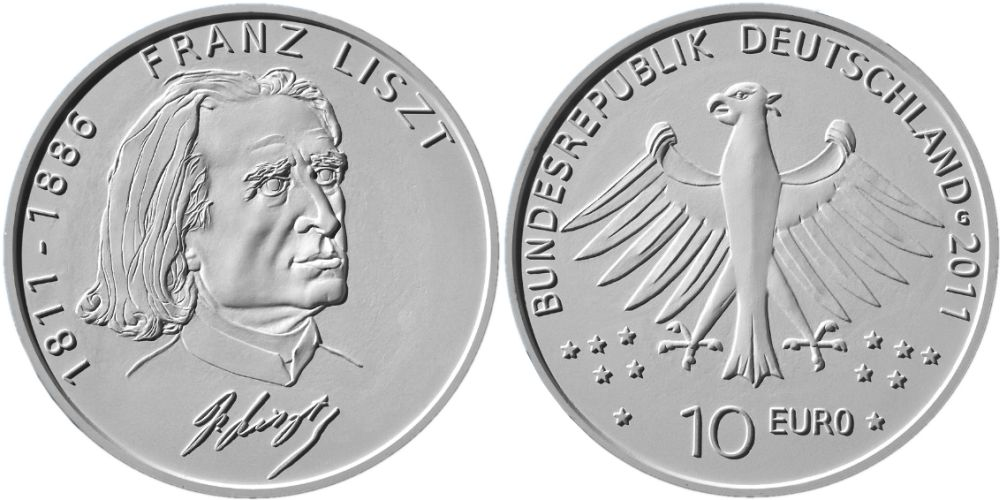 Entwürfe 10 Euro Münze Franz Liszt 2011