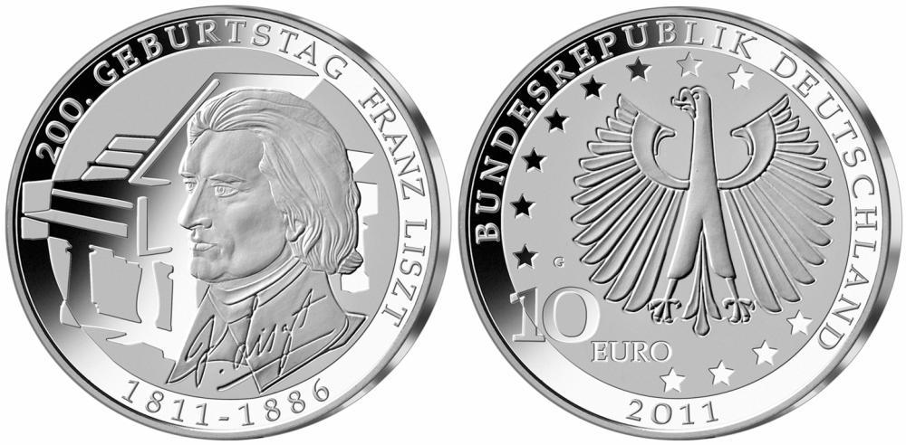 10 Euro Münze Franz Liszt 2011