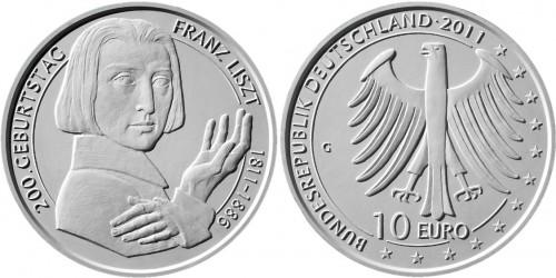 3. Platz - 10 Euro Gedenkmünze Liszt