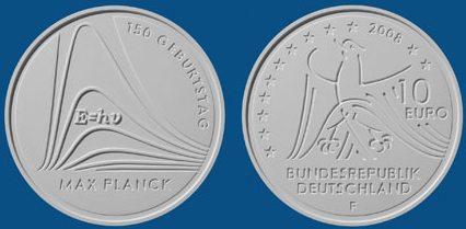 2. Platz 10 Euro Münze Max Planck