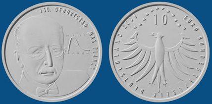 3. Platz 10 Euro 150. Geburtstag von Max Planck