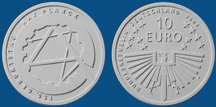Platz 4 beim Münzwettbewerb der 10 Euro Münze Max Planck