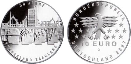 10 Euro Gedenkmünze Saarland Deutschland 2007
