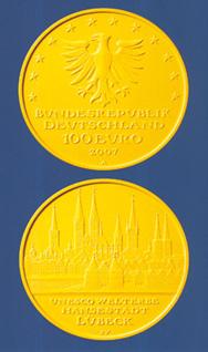 100 Euro Goldmünze Lübeck - Deutschland 2007