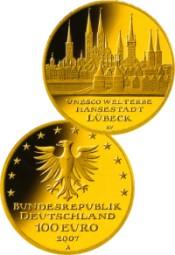 100 Euro goldmünze Lübeck 2007
