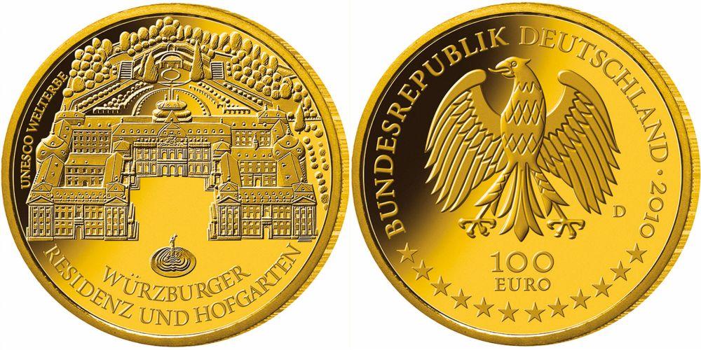 100 Euro Goldmünze Würzburg 2010