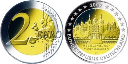 2 Euro Gedenkmünze Schweriner Schloss 2007
