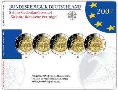 2 Euro Gedenkmünzen-Set Römische Verträge Deutschland
