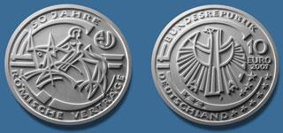 2. Platz 10 Euro Münze Römische Verträge 2007