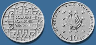 3. Platz 10 Euro Gedenkmünze Römische Verträge