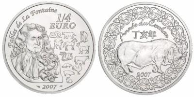1/4 Euro Gedenkmünze Jahr des Schweines 2007