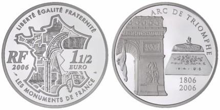 Gedenkmünze Frankreich Arc de Triopmhe 2006