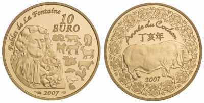 10 Euro Goldmünze Schwein Frankreich 2007