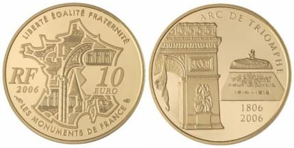 10 Euro Münze Triumphbogen Frankreich 2006