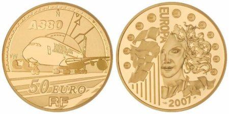 50 Euro Goldmünze Airbus A380