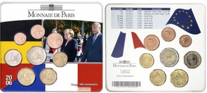 Frankreich Kursmünzensatz: A. Merkel & J. Chirac