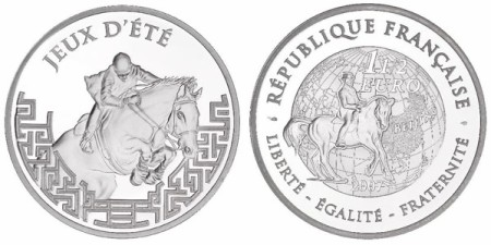 1,5 Euro Silbermünze Peking aus Frankreich