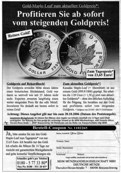 Angebot für den Gold Maple Leaf 2006