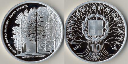 10 Euro Gedenkmünze Schwarzkiefern Griechenland