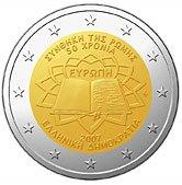 Griechische 2 Euro Münze Römische Verträge