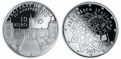10 Euro Silbermünze Römische Verträge Italien