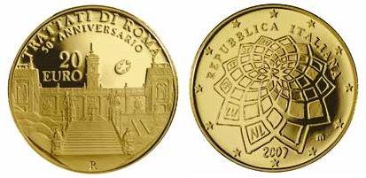 20 Euro Goldmünze Römische Verträge Italien