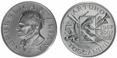 5 Euro Münze Toscanini aus Italien